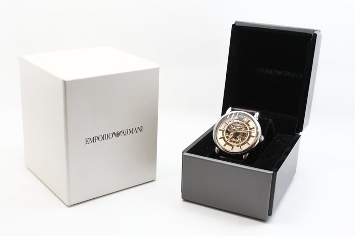 【台中青蘋果】Emporio ARMANI AR1982高雅品味鏤空機械時尚腕錶-咖啡 #25371