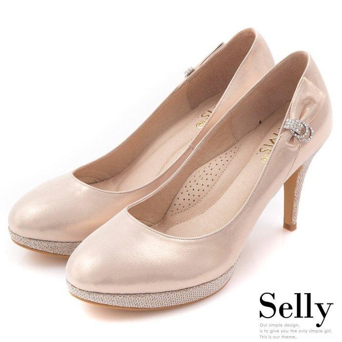 MIT花嫁-閃耀金蔥羊皮鑽飾高跟鞋-幸福粉-Selly-沙粒-(MIT89)
