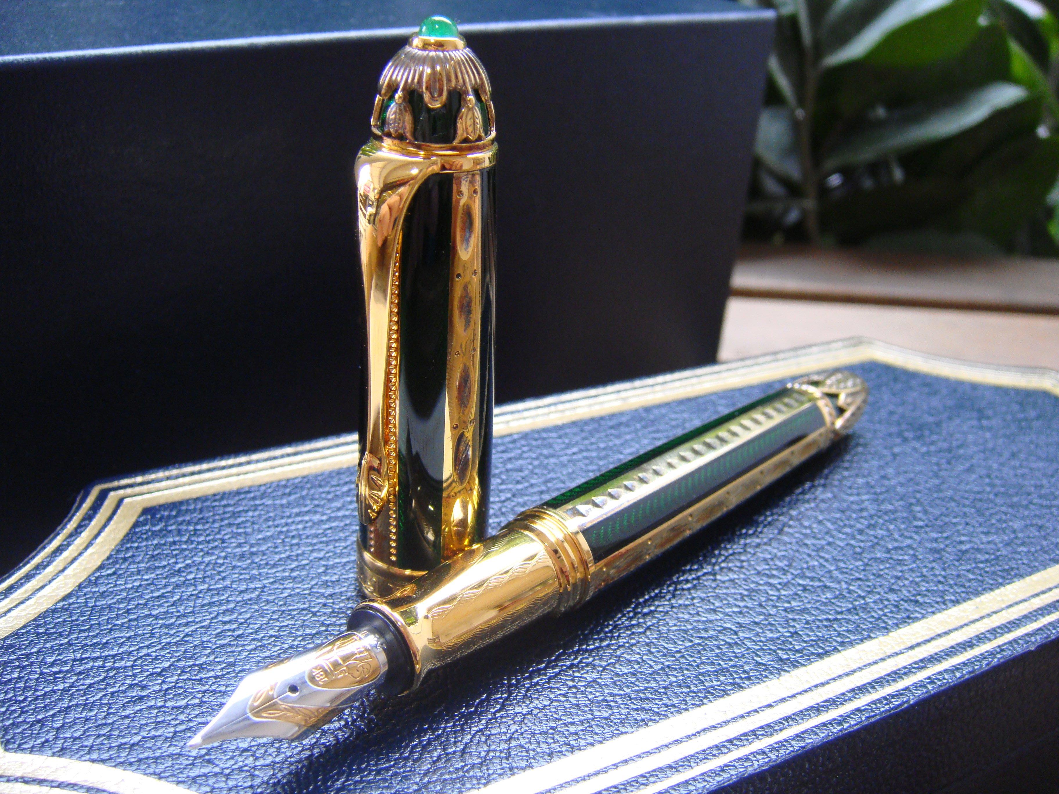 Michel Perchin 綠色沙皇 Green&Gold Rib Faberge 925 Vermeil 限量鋼筆