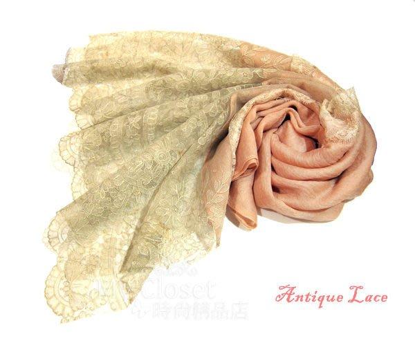 My Closet 高雅。復古。夢幻逸品。歐洲中世紀古董蕾絲圍巾‧柔粉色