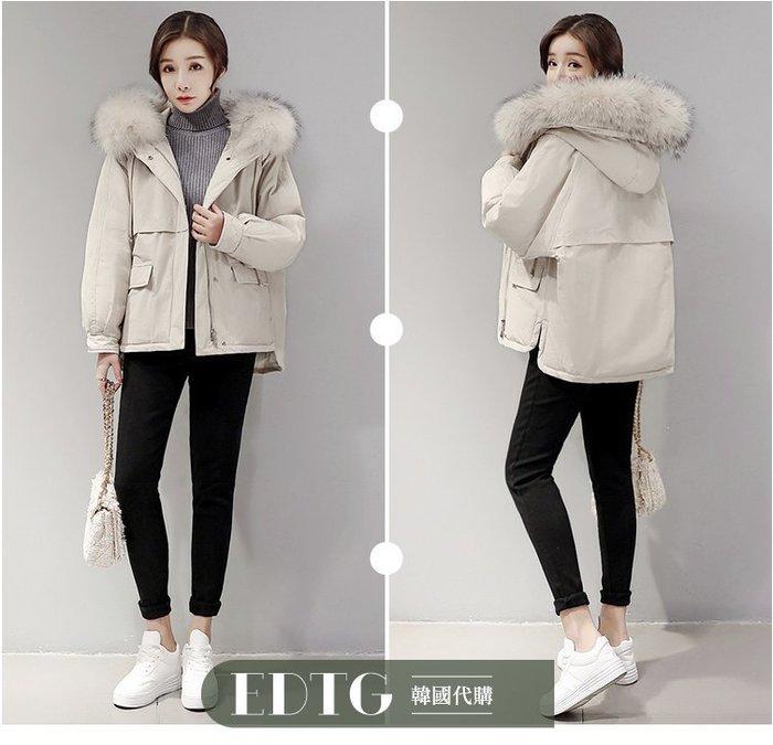 【  EDTG   】S~XL柔軟毛領『內膽羽絨』!短款羽絨外套大衣