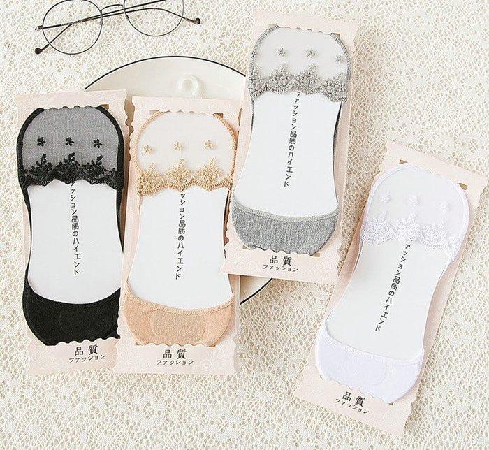☆。Is anything sells。☆ 蕾絲網編淺口止滑棉質隱形襪
