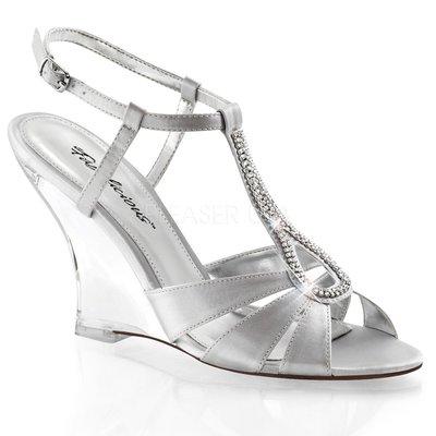 Shoes InStyle《四吋》美國品牌 FABULICIOUS 原廠正緞面水鑚透明楔型高跟涼鞋 有大尺碼出清『銀色』