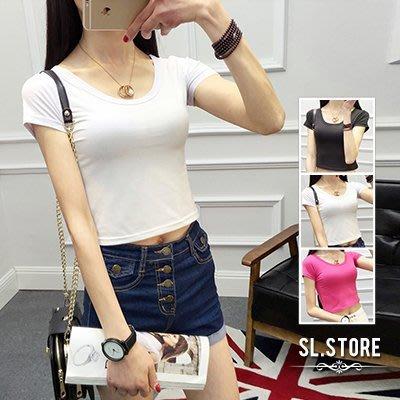 SL Store【GST001】日韓緊身素面露肚臍短版短袖T恤.黑/白/桃紅/M/L/XL