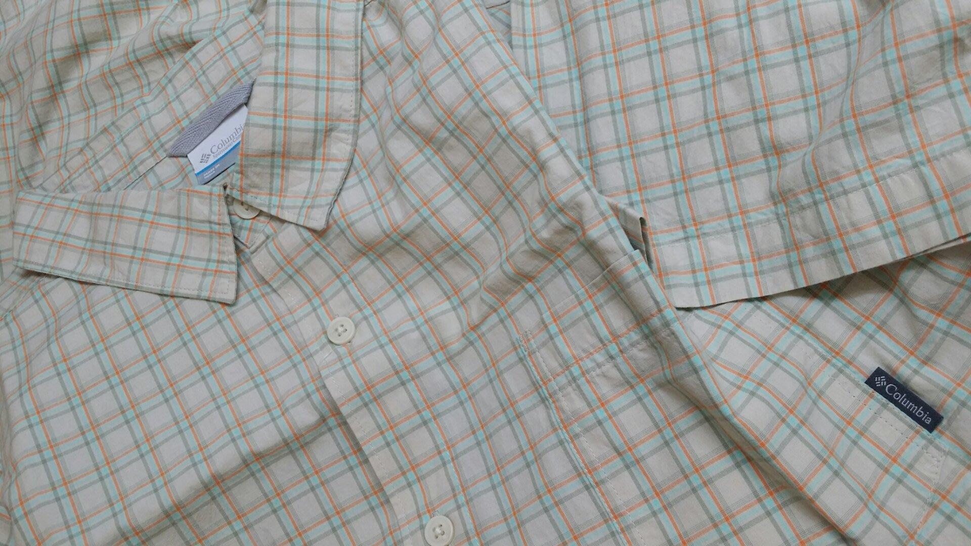特價出清【Columbia短袖棉質格子襯衫】美國購置專櫃正品~ 硬挺棉布 上班、休閒皆宜。尺寸 XXL ~現貨在台~