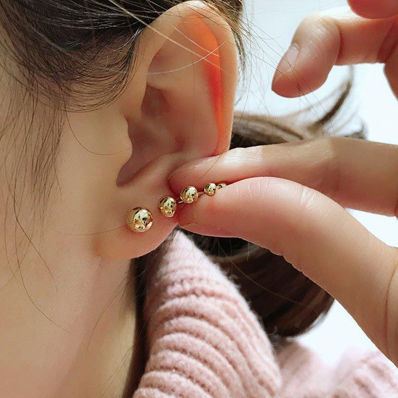 唯美手工輕珠寶 純10K金黃金 迷你小金珠金球圓珠耳針耳環 2mm 單支