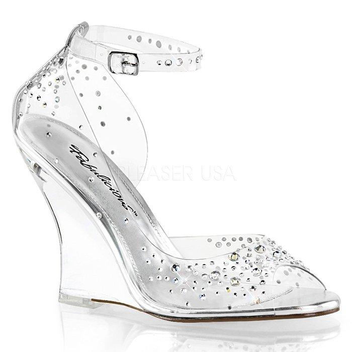 Shoes InStyle《四吋》美國品牌 FABULICIOUS 原廠正緞面水鑚透明楔型高跟魚口鞋 有大尺碼『銀白色