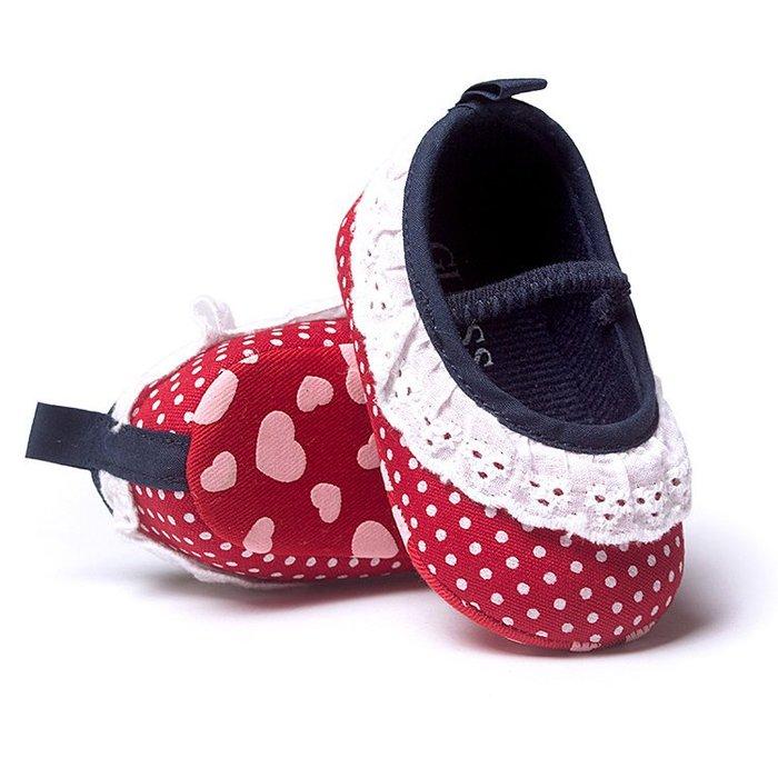 女童點點蕾絲嬰兒鞋 學步鞋 女寶寶鞋 米妮配色❤❤Moira shop 莫依拉❤❤