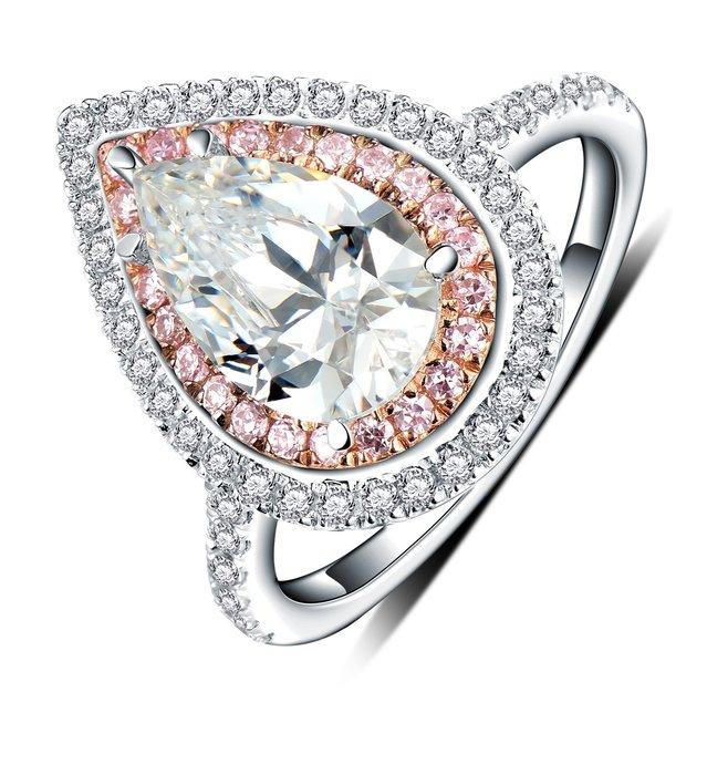 鑽戒分色粉鑽高檔純銀微鑲鍍鉑金女款戒指 歐美明星同款3克拉仿真鑽石  FOREVER鑽寶