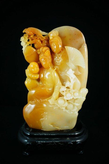 精品新加坡回流~~國寶壽山石精品擺件----老坑桂花黃芙蓉『紅樓夢』工藝美術大師林大榕作