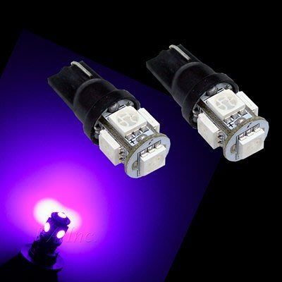 【PA LED】T10 5晶 15晶體 SMD LED 紫光 粉紫 耐熱底座 小燈 方向燈 儀表燈 定位燈