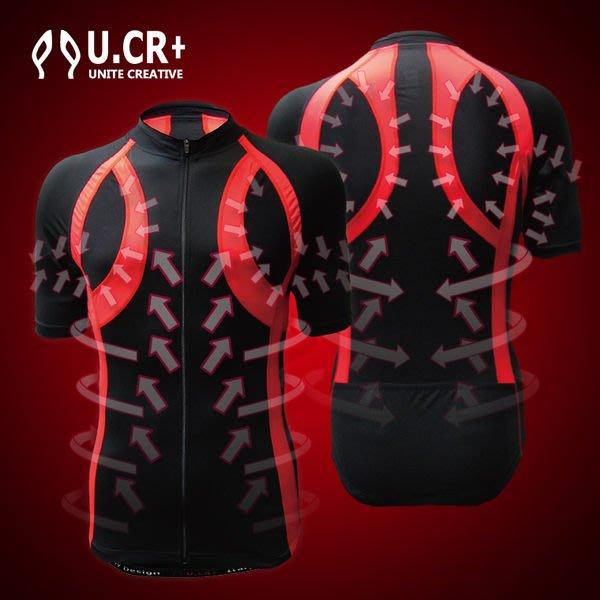 「喜樂屋戶外」U.CR+  外展車衣 中性款流滑肩型機能服 吸排/ 透氣 網球/羽球/滑板/單車等 台灣製