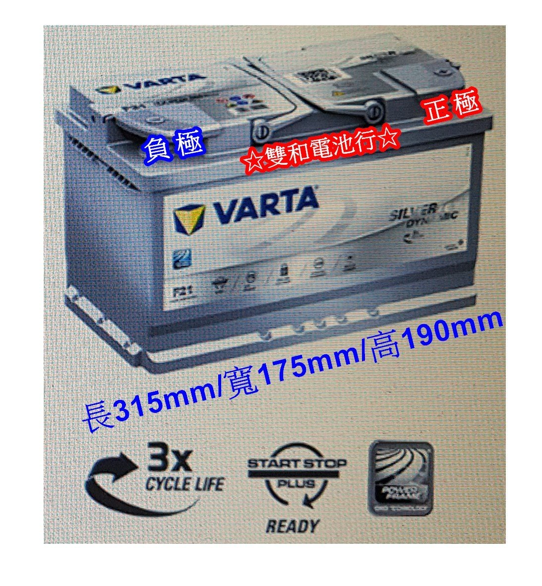 ☆雙和電池☆德國VARTA華達原廠指定F21 AGM電瓶(80AH)~賓士/BMW/奧迪