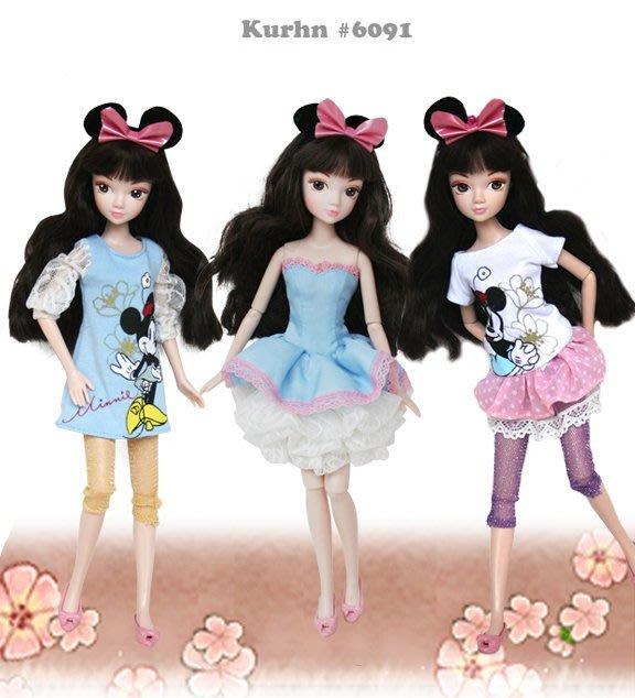 ♥可兒派對♥ 可兒娃娃 莉卡娃娃 小布娃娃 珍妮娃娃 迪士尼衣服洋裝 6089摩登米妮6090派對米奇6091派對米妮