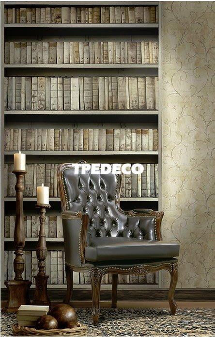 【大台北裝潢】美國Seabrook進口壁紙CT* 大型主題壁畫 A GOOD BOOK 書櫃書本