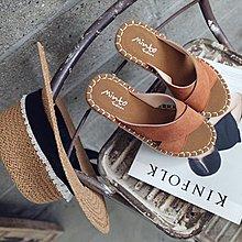 韓國空運 真皮 簡約素色車線交叉造型厚底拖鞋 涼拖鞋 楔型【Y5768】♥tutti.moda♥