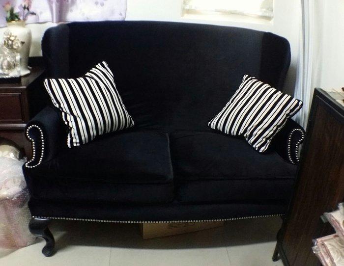 OUTLET限量低價出清美生活館---全新經典美式古典鄉村 蘿拉雙翼高背黑絨布人沙發椅/情人椅/玄關椅