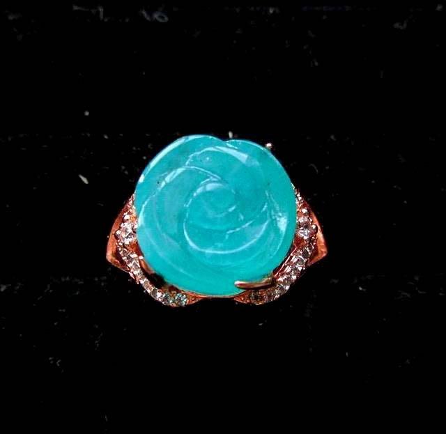 *全美油亮*天河包邊戒指*極美AAA級12mm天河石雕刻玫瑰花戒指戒子活圍活口珠寶首飾彩色寶石首飾飾品寶石彩寶彩色寶石