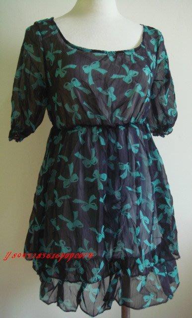 短袖滿版蝴蝶結雪紡紗雙層氣質洋裝連身裙