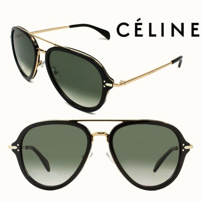 CELINE►Drop (黑色框×金屬金色×深墨綠色漸層鏡片)  飛行員框型 太陽眼鏡 墨鏡 中性款|100%全新正品|特價!