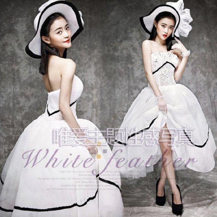 【優上 】韓式唯美影樓雜志風主題寫真個人藝術照拍攝服飾 抹胸禮服 Z-P3102)