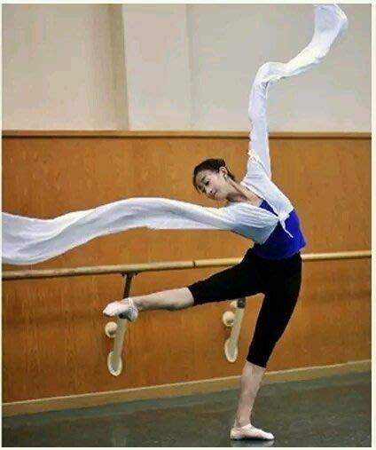 藏族服成人兒童 京戲劇 古典舞蹈 民族舞蹈 長水袖  連體衣袖子舞表演服 水袖服180cm  白色成人款