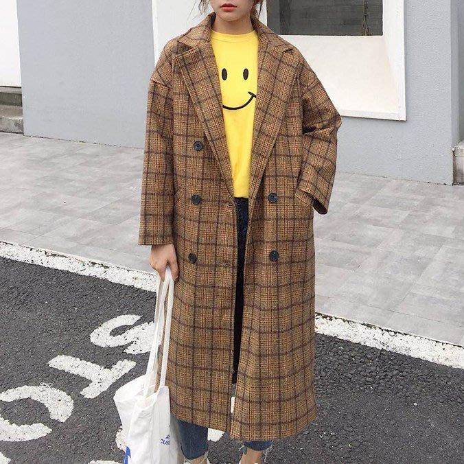 Copy&Paste【特價】韓國訂單.版型顯瘦修身歐美格子格紋中長款質感毛呢大衣翻領雙扣口袋西裝外套 M~XL 預購