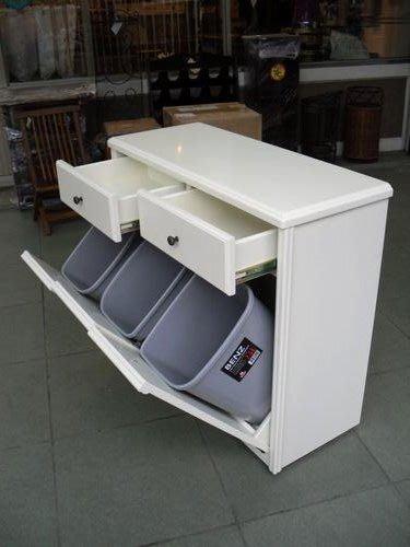 美生活館--客訂全實木白色雙抽三門分類垃圾桶--日韓鄉村風格家具-也可改成收納櫃