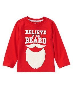妙寶貝♡Crazy8 紅色大鬍子長袖T恤(2T)另有Carter、Oshkosh、Gymboree