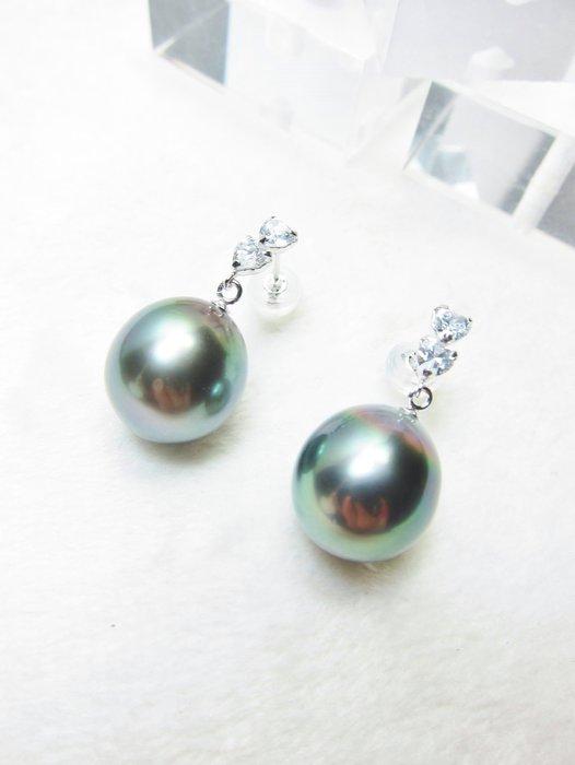 11.6-11.7mm  南洋黑珍珠 日本14K雙愛心耳環【元圓珠寶】(已售出、待進貨)