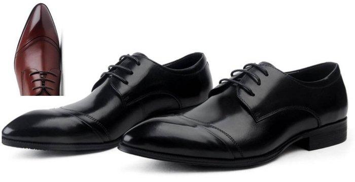 新品男士商務正裝皮鞋英倫系帶尖頭皮鞋真皮男鞋低幫鞋車縫線CG