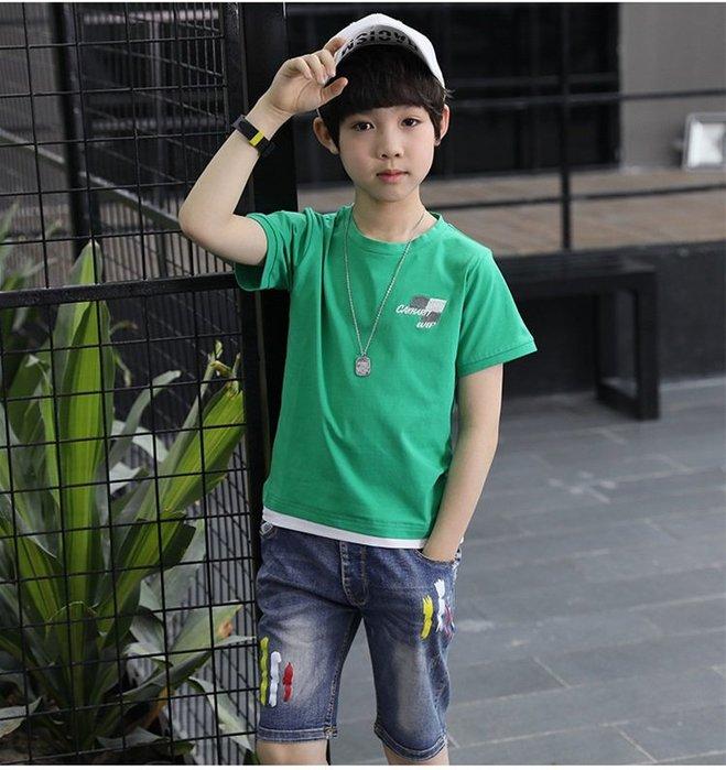 日韓歐美♥韓版男童  印花牛仔五分褲    外出必備款短褲  兩色可選【E694】