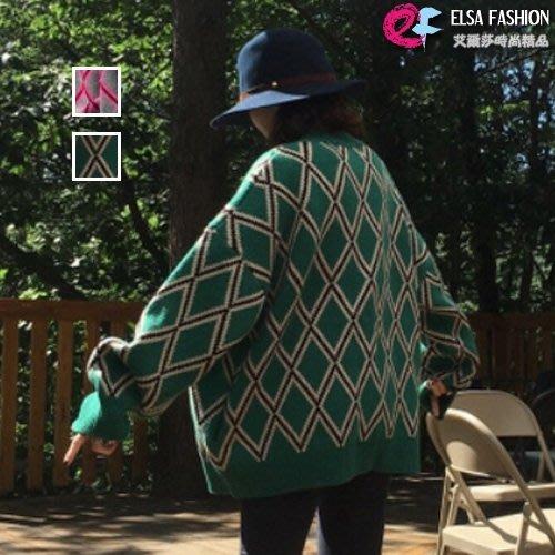 毛衣外套針織 復古風菱格紋加厚針織外套 艾爾莎【TGK5953】