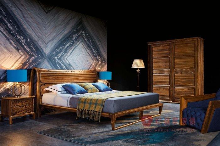 [紅蘋果傢俱] WJM-8012 烏金木系列 床組 造型床架 頂級全實木床台 床頭櫃 五尺 六尺