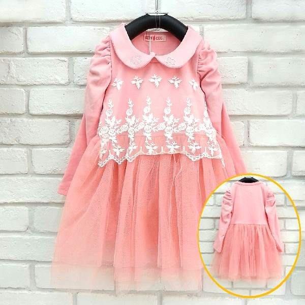 【班比納精品童裝】領子繡花蕾絲紗裙洋裝-粉紅【BM150820023】