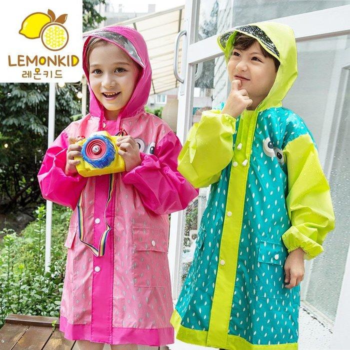 【Kathie Shop】韓國品牌學生兒童小眼睛薄款環保防水透氣雨衣雨具雨披有書包位 正品