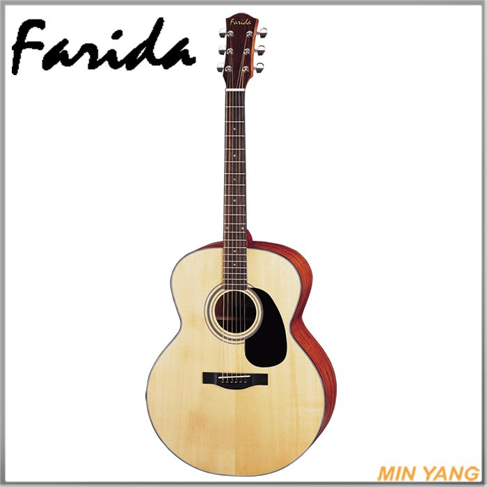 【民揚樂器】民謠吉他 法麗達 Farida J16NS 雲杉面單板 木吉他