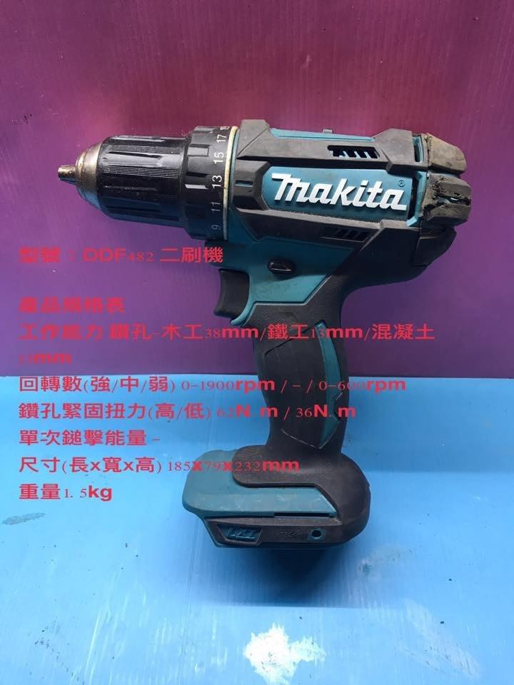 (二手中古外匯) 牧田  Makita MAKITA  二刷21段扭力調整電鑽 DDF482  空機不含電池充電器