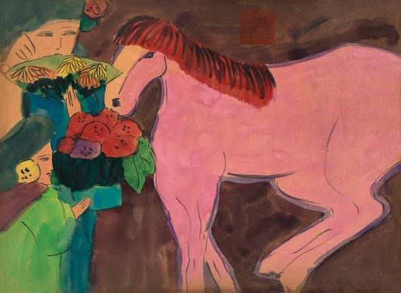 [客人寄賣] 丁雄泉 複合媒材 女郎與紅馬 45.5X33cm (彩墨、水彩、採花大盜、風流先生)