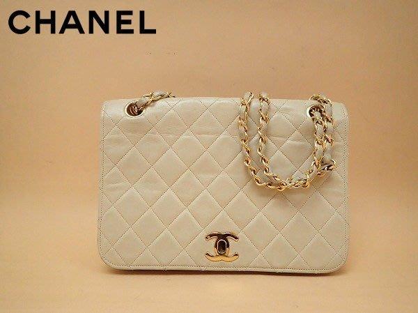 Chanel vintage 米白金鏈羊皮經典coco包