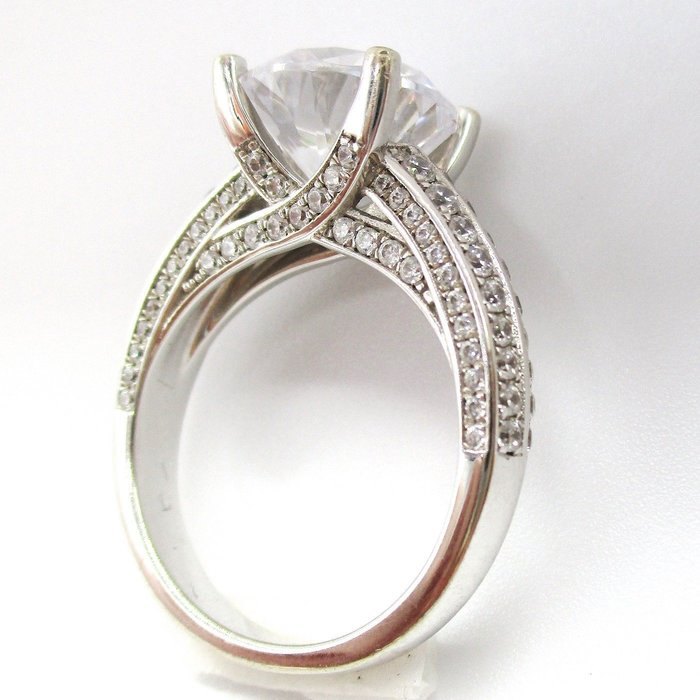 鑽戒4克拉高檔純銀仿真鑽戒 超閃單碳原子鑽 求婚 結婚 情人節禮物 鑽石  FOREVER鑽寶
