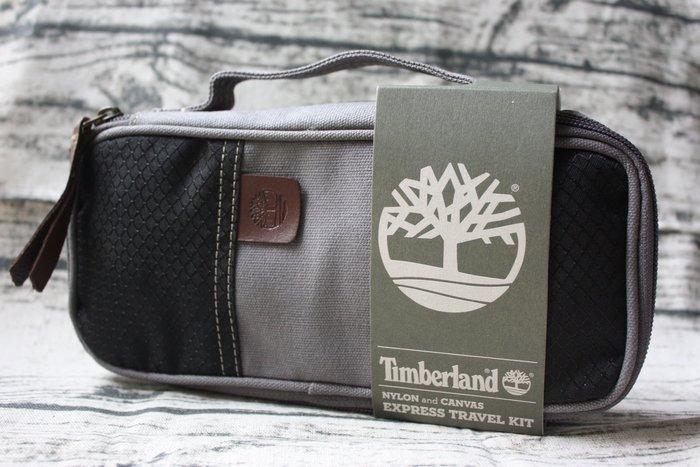 現貨【Timberland 】全新正品 帆布 旅行包 萬用小包 - 灰+黑色 24cm x 11cm x 5.5cm