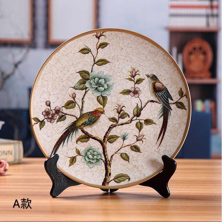 伊媽小舖-創意陶瓷裝飾盤子擺件復古擺盤酒櫃玄關裝飾擺設