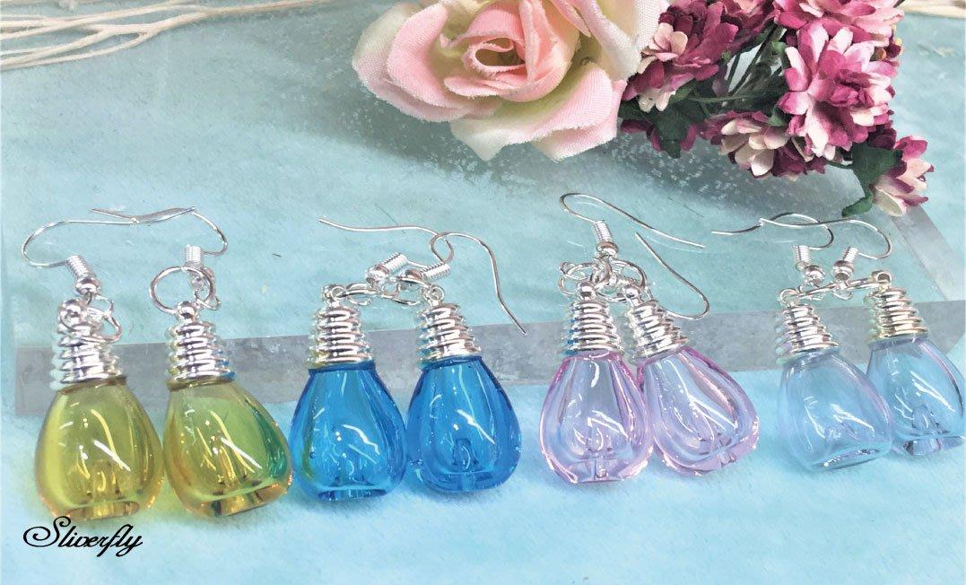 《 SilverFly銀火蟲銀飾 》燈泡合金琉璃珠香氛精油耳環(可改耳夾or純銀耳針)