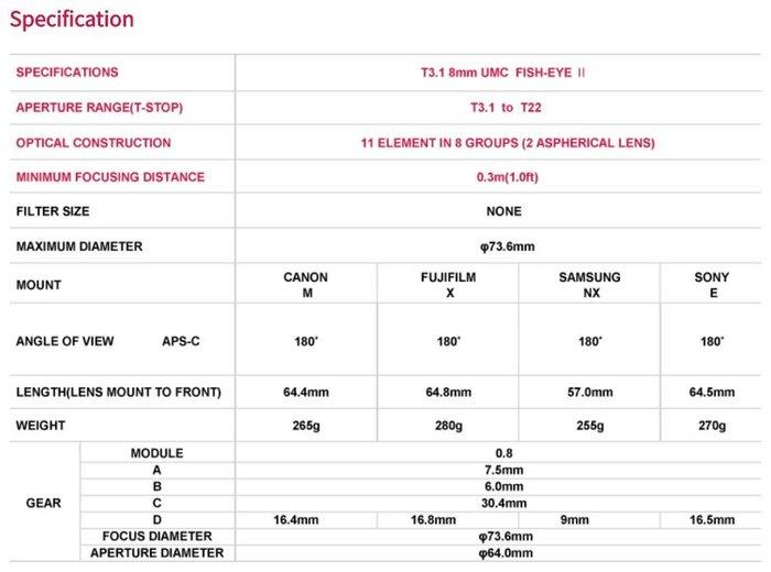 @3C���� 銝 Samyang Cine 8mm T3.1 擳�� 甇?��鞎� VCSC Sony E