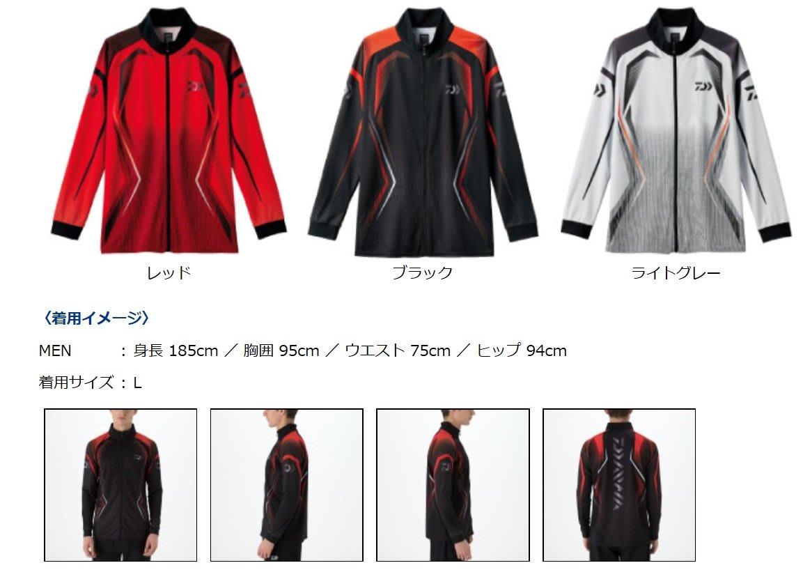 【NINA釣具】DAIWA DE-75008 長袖釣魚排汗衫 抗UV 吸水速乾 黑色/紅色