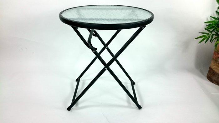 [兄弟牌戶外休閒傢俱]折疊玻璃庭院圓桌 60cm黑色~餐桌外出折疊好攜帶收納~Brother直購免運費!