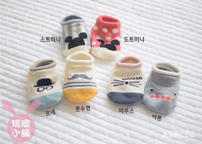 《琉璃的雜貨小舖》韓國原單 鯊魚 米奇 米妮可愛寶寶襪 兒童襪 船型襪 防滑襪