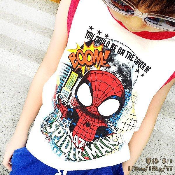 【班比納精品童裝】彈力滾邊蜘蛛人背心上衣-白【BB16052002】