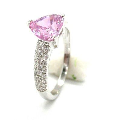 韓版純銀粉色心型戒指 微鑲飾品 主鑽1...